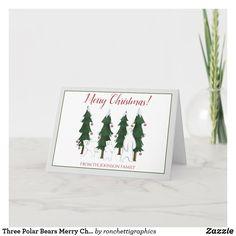 Three Polar Bears Merry Christmas Holiday Card