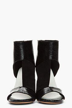 MAISON MARTIN MARGIELA Black Folded Suede & Croc-Embossed Leather Cut-Out Heels