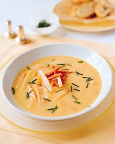 Use a blender, not a food processor, to puree this soup, or it will become gummy.