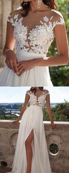 72e6fb4fdb lace appliqued white long chiffon prom dress