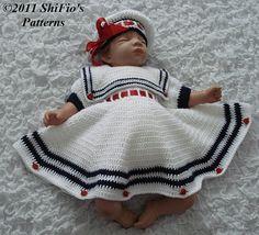 Baby Girl Crochet Pattern Sailor Dress, Beret Crochet Pattern 3 Sizes DIGITAL DOWNLOAD 184. $2.50, via Etsy.