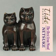 (B) Boxwood Wood Netsuke Handicrafts TWO CATS Figurine Carving WN233
