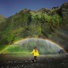 This pretty much sums up summer in Iceland! Waterfalls rainbows and vibrant green everywhere! WE LOVE IT!  -  @polinabrz