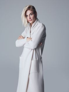 Woven with 100%, 10gg cashmere, our cashmere robe is unbelievably plush and warm. Featuring a belted waist, a stylish shawl collar, and pockets on each side meant to hold small items with ease, this robe is both cozy, elegant, and practical. A new addition to our best-selling cashmere collection, our cashmere robe is very appropriate for lazy weekend mornings, relaxed nights, and work-from-home days. Women's Wardrobe Essentials, Cashmere Robe, Mornings, Lazy, Shawl, Raincoat, Plush, High Neck Dress, Pockets