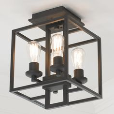 Industrial Cube Ceiling Light - Shades of Light Ceiling Light Shades, Ceiling Light Design, Flush Ceiling Lights, Ceiling Light Fixtures, Lighting Design, Chandelier Shades, Lighting Ideas, Industrial Light Fixtures, Hall Lighting