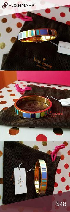 Kate Spade hinged bangle bracelet New with tags. Says MAKE A SPLASH   Blue green purple yellow gold kate spade Jewelry Bracelets