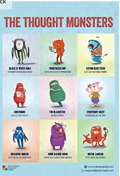 The Thought Monsters Cbt Therapy, Therapy Tools, Anxiety Therapy, Therapy Ideas, Speech Therapy, Cbt Worksheets, Therapy Worksheets, Cognitive Distortions, Cognitive Behavioral Therapy