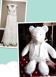 My wedding dress transformed into a keep sake teddy bear - nimivo sites Wedding Dress Quilt, Old Wedding Dresses, Wedding Dress Crafts, Recycled Wedding, Wedding Dress Preservation, Bear Wedding, Angel Gowns, Wedding Wreaths, Wedding Keepsakes