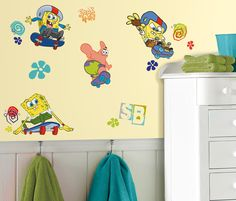Join Spongebob and Patrick in a fun undersea skating adventure! These cool Spongebob Squarepants wall decals are an easy way to delight Spongebob fans big and small. Application is a breeze: just peel each pre-cut design from its liner and apply it to the wall. All RoomMates wall decals are removable and repositionable, so you can move every element around as many times as you like.