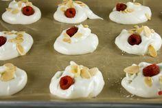 Raspberry & Almond Swiss Meringue Cookies.