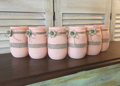 Set of (6) Rustic Peach Hand Painted Pint Sized Bridal or Baby Shower Mason Jar Centerpieces, girl baby shower centerpieces, bridal shower