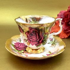 """Royal Albert 4463 """"Gold Crest Series""""- Red Rose and Brushed Gold Tea Cup Set - Vintage Tea Cup Set - Floral Tea Cup by DishUponAStar on Etsy https://www.etsy.com/listing/549045046/royal-albert-4463-gold-crest-series-red"""