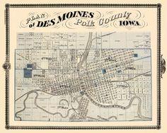 Vintage map of Des Moines