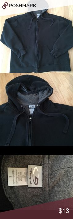 Men's Zip-Up Hooded Sweatshirt Champion brand, size L, black color, worn only a few times . In very good used condition without rips or stains. Some light fading in original color due to wash and wear. Champion Other