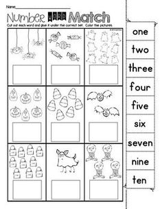 Print and Go! Halloween Math and Literacy ~ Sweet and spooky practice pages for kindergarten kids! Perfect for morning work, homework, or centers. Made to save you ink and time! Happy Halloween! $:
