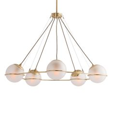 This five-light chandelier is the epitome of elevated simplicity. The delicate antique brass frame leads way to frosted glass orbs that seemingly float in the air, creating a cerebral effect. Approved for use in covered outdoor areas. Also available in brown nickel/smoked glass. Finish may vary.    Material: Steel  Finish: Brass