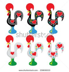 Portuguese Rooster of Barcelos - Galo de Barcelos icons by RedKoala #Portugal