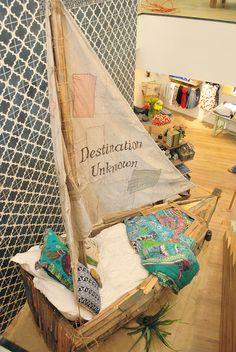 Anthropologie Store Displays from Charleston Girl: Wordless Wednesday: E Design, Design Case, Interior Design, Boat Bed, Deco Marine, Store Displays, Retail Displays, Library Displays, Visual Merchandising