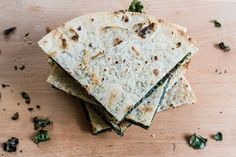 grilled kale + cheese stuffed tortillas | edible perspective; use whole wheat tortillias and Jarlsberg