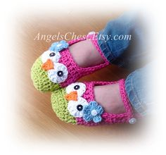 Crochet Pattern Owl Mary Janes Slippers