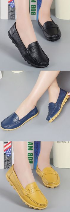 $15.32 Big Size Pattern Leather Breathable Slip On Soft Flat Loafers