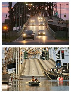 (Top Photo) Cars travel over a bridge crossing the Industrial Canal to the Lower Ninth Ward August 23, 2010 in New Orleans, Louisiana. (Bott...