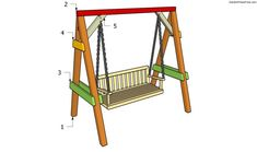 Step by step plans about garden swing plans. Building an A-frame swing is a nice garden project, if you use proper plans, professional tools and quality materials. Porch Swing With Stand, A Frame Swing, Bench Swing, Swing Seat, Outdoor Projects, Garden Projects, Wood Projects, Garden Swing Sets, Garden Swings