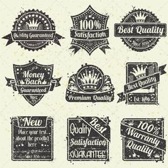 Quality and Guarantee Labels  #GraphicRiver         Collection Grunge Best Quality and Guarantee Labels, vintage design, vector illustration  All text converted to curves. Version with editable text, see in my portfolio.     Created: 22March12 GraphicsFilesIncluded: JPGImage #VectorEPS Layered: Yes MinimumAdobeCSVersion: CS Tags: badge #banner #best #business #certificate #collection #commerce #crown #design #emblem #finance #genuine #grunge #guarantee #hundred #icon #illustration #insignia…