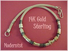 14K Gold Sterling Silver - Modernist Woven Mesh Necklace with Handmade Slide Beads - Tourmaline OOAK