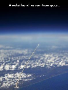 Launch of Space Shuttle Atlantis, as seen from the NASA/JSC high altitude research aircraft.