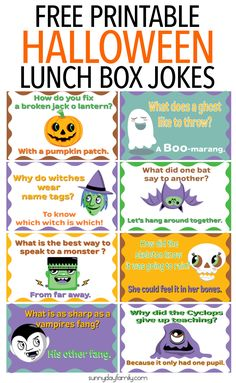 Give kids a giggle with these fun free printable Halloween lunch box notes! 8 lunch box notes in all with funny Halloween jokes for kids. Surprise them with these Halloween jokes - use them as lunch box notes or anywhere around the house!