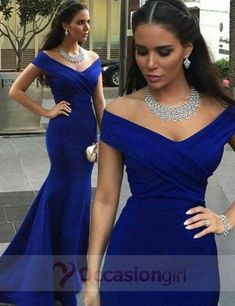 long blue off shoulder dress