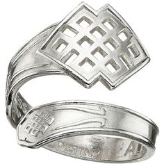 Alex and Ani Spoon Ring (Silver Endless Knot) Ring ($22) ❤ liked on Polyvore featuring jewelry