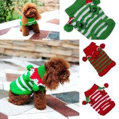 L Fashion Colorful Striped Warm Crochet Christmas Cute Pet Dog Sweater Clothing