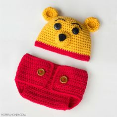 """Learn how to create this adorable Winnie The Pooh hat and diaper cover set with this easy pattern! It would make the perfect baby shower gift, or baby photography prop!"""