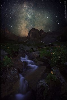"""expressions-of-nature: """"Mountain spirits and the Milky Way by: Horimono"""" P. simple quest for everyone) Why did Bill die? Beautiful World, Beautiful Places, Viewing Wildlife, To Infinity And Beyond, Pics Art, Heaven On Earth, Milky Way, Science And Nature, Stargazing"""