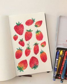 Strawberries! I'm trying out this new Neocolor II and love the texture it…