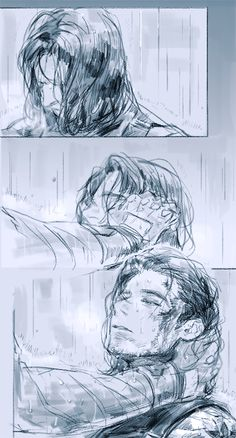 "Rain, by noonrema (Twitter) || ""You're here..."" ""You're okay. You're okay."""