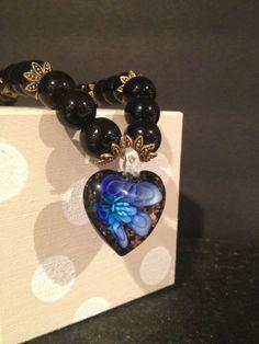 Stunning resin heart pendant with brilliant blue by NeckArtbyHelen, $42.50