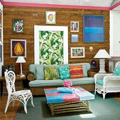 Mix Your Wickers: Natural pine floors, walls, and ceilings preserve this cottage's retro, lived-in look. Vintage wicker furniture in different designs adds to the casual feel.