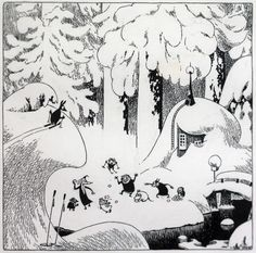 Tove Jansson black and white Moomin ink illustration. Now that's what I call winter Art And Illustration, Black And White Illustration, Ink Illustrations, Tove Jansson, Fauna, Graphic, Painting & Drawing, Troll, Fantasy Art