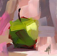 Green Apple Still Life Art Print by Angela Moulton 8 x 8 inch