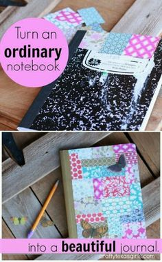 DIY Journals, Ideas For Making A Handmade Journal with Cover Art Tutorial, Binding Tips, Easy Craft Ideas With Step By Step Instructions for Making From Scratch Diy Notebook, Notebook Covers, Journal Covers, Notebook Drawing, Cute Crafts, Diy And Crafts, Crafts For Kids, Paper Crafts, Book Crafts