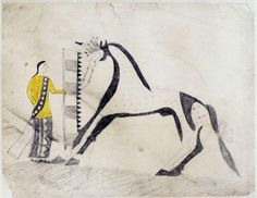 Plains Indian Ledger Art | Sweetwater Ledger Book: Plate #2, Untitled