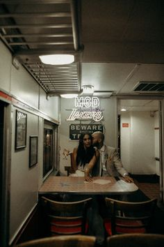 Fun quirky couple portraits in a cozy diner Old Hollywood Wedding, Diana Wedding, Wedding Venue Inspiration, California Cool, Space Wedding, Couple Portraits, Engagement Couple, How To Memorize Things, Weddingideas