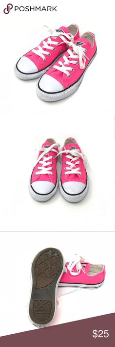 Neon Pink Converse All Stars never worn •Converse All stars aka Chuck Taylor's in neon pink  •New without tags- only tried on once  •Size 13  ⭐️❤️FREE Matching hair accessory with purchase!❤️⭐️ •Smoke & pet free home •I am a: Posh Ambassador, top 10% seller, top rated seller, Posh mentor & ship same day/next day!  •Browse my closet for dozen of amazing designers such as.. tucker + Tate, Tea Collection, Mini Boden, UGG, GAP, Juicy Couture, Lululemon & many more! Converse Shoes