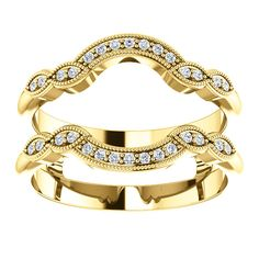 14kt Yellow Gold Ring Guard And Accent 30 Round Diamonds (ST122762:102:P)  Price: $499.99 #14kt #yellowgold #gold #Ringguard #Diamonds