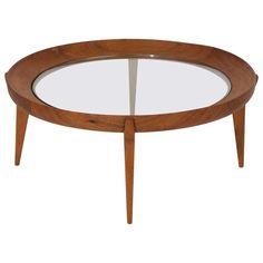 Round Solid Sculptural Caviuna Wood Coffee Table by Giuseppe Scapinelli 1