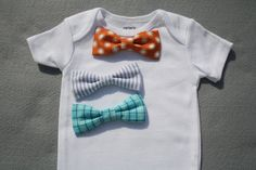 colors!  Set of 3 Bowties with Snap on Onesie for Infant Boy, Orange Bow Tie, Blue Seersucker, Aqua Plaid Bowtie, Baby Shower Gift