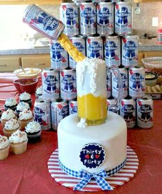 Thirtieth Birthday - PBR Beer Cake